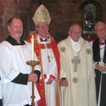 Bishop Gregor with Rev'd Donald Strachan, centre, and Re'vd Sydney Maitland, right.
