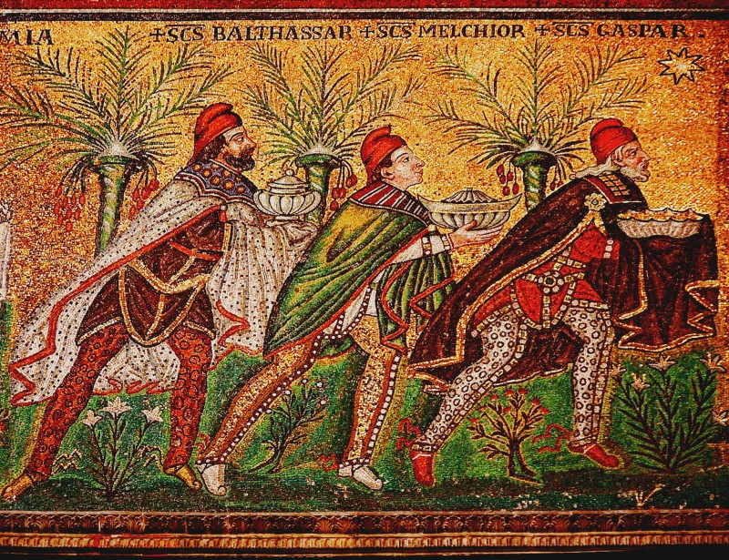 The Three Magi: Balthasar, Melchior, and Gaspar, from a late 6th century mosaic at the Basilica of Sant'Apollinare Nuovo in Ravenna, Italy.